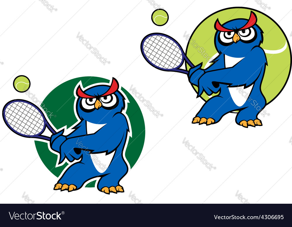 Sporting emblem with owl playing tennis vector