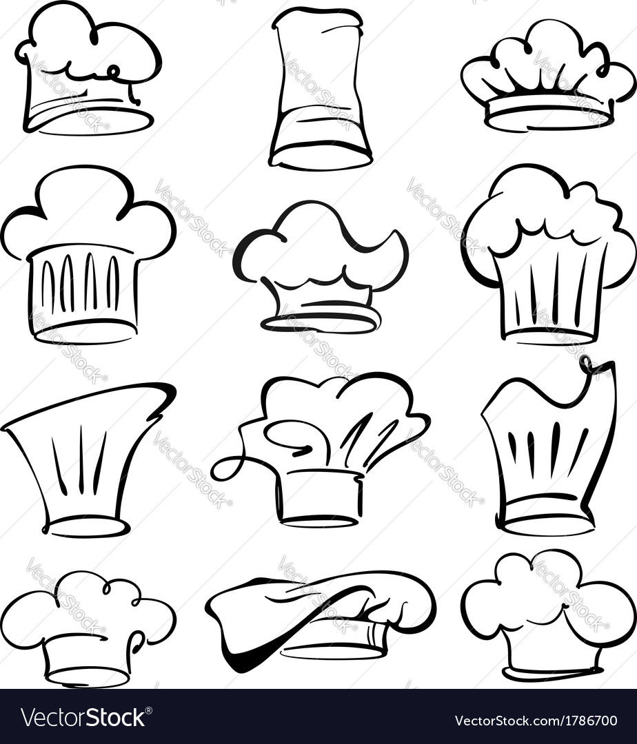 Chef hats collection cartoon vector