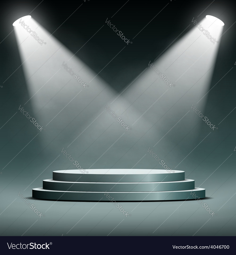 Two spotlights illuminate the podium with steps vector