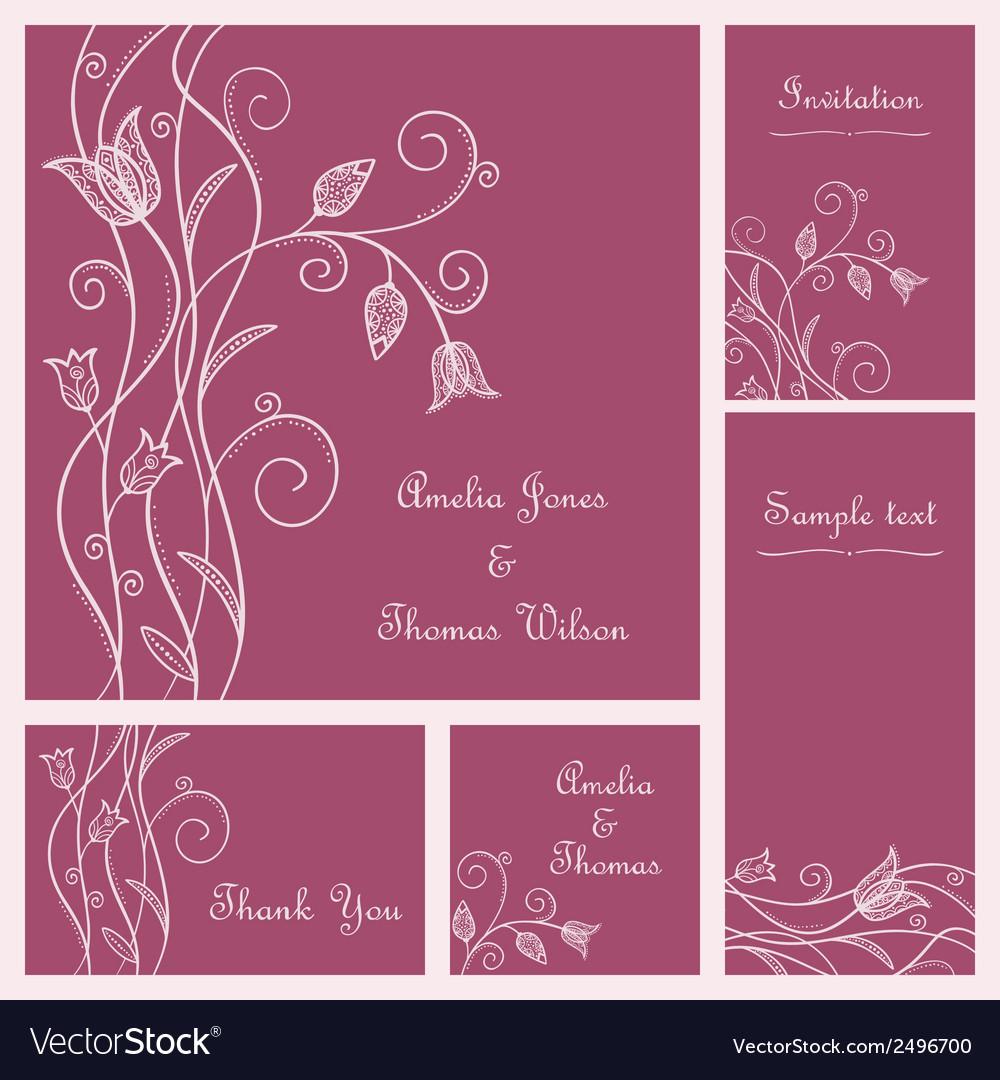 Wedding card set vector