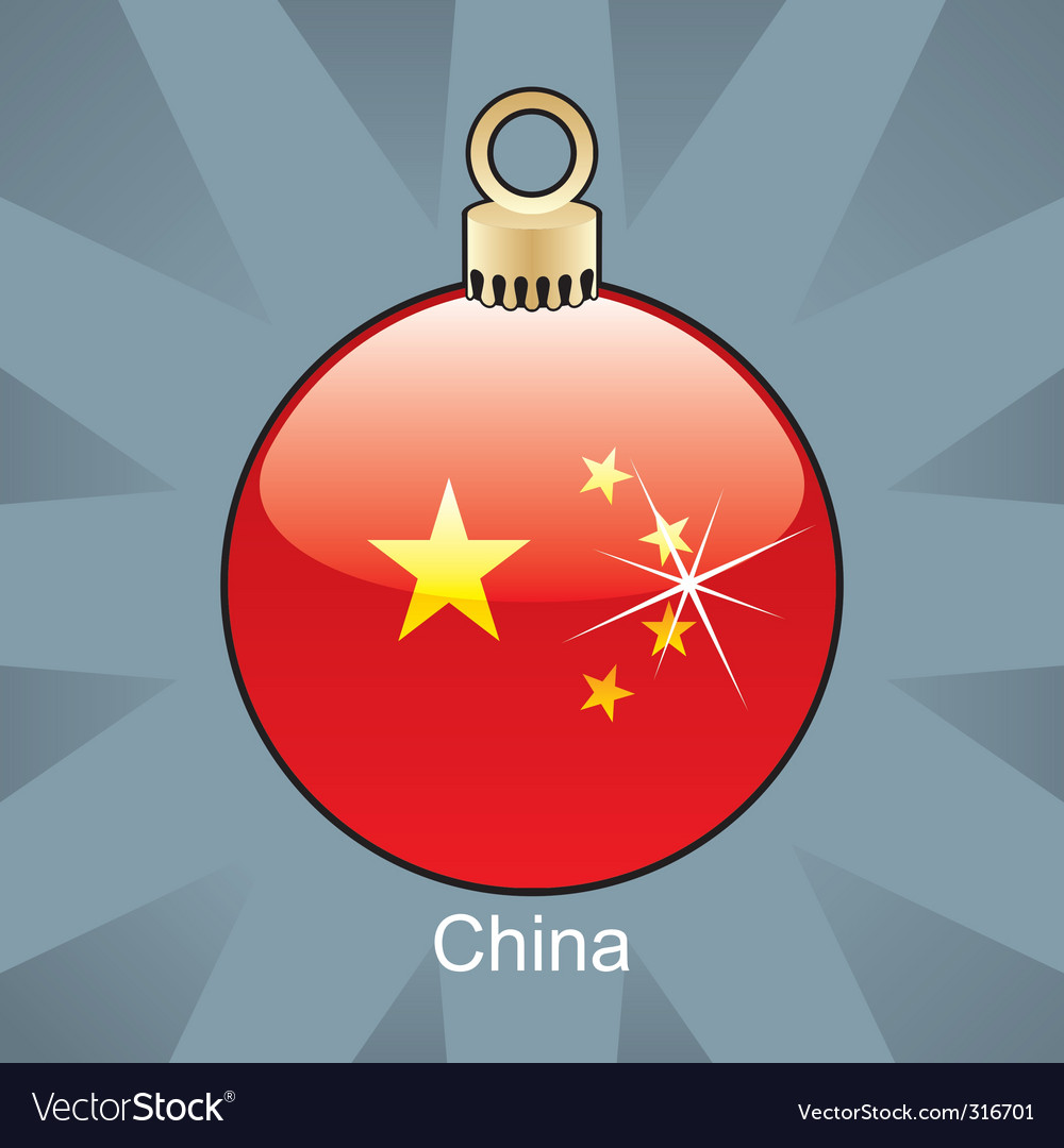 China flag on bulb vector