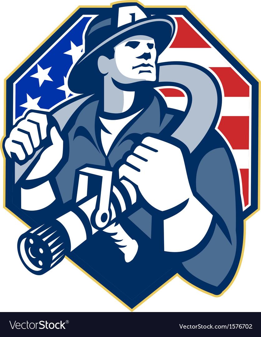 American fireman fire-fighter fire hose retro vector