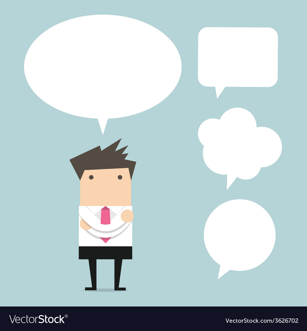Businessman thinking with bubble chat vector