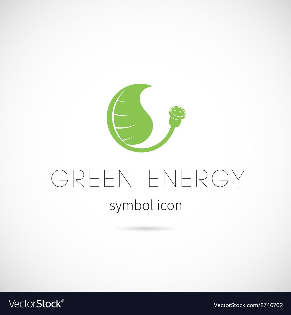 Green energy concept symbol icon or label vector