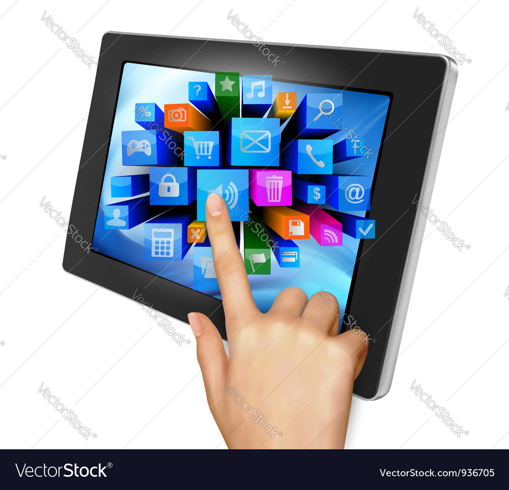 Tablet pc with colorful icons vector
