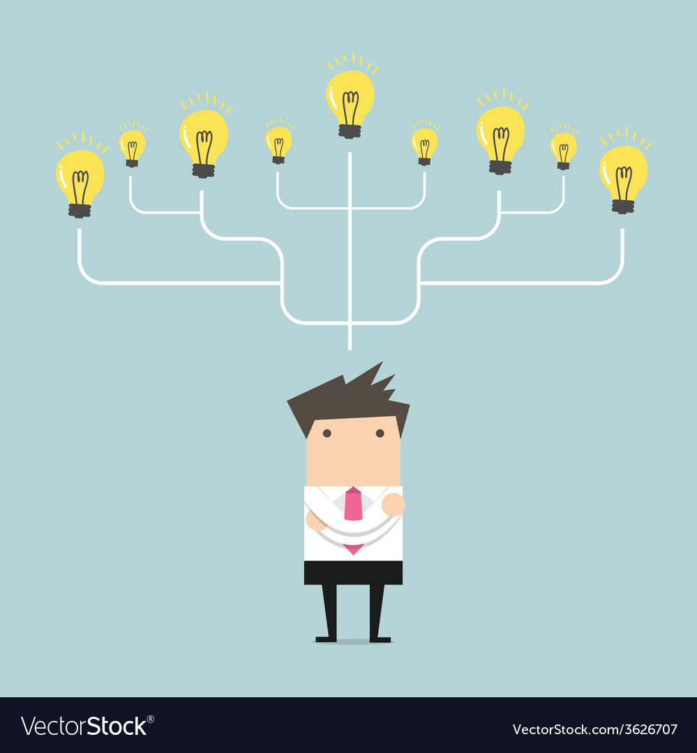 Businessman many idea to success concept vector