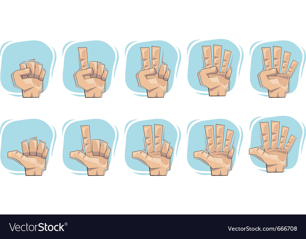 Doodle hand number sign icons vector