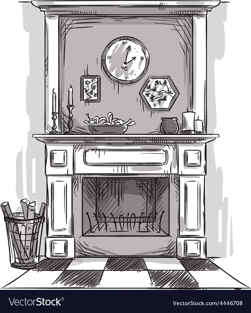 Hand drawn fireplace vector