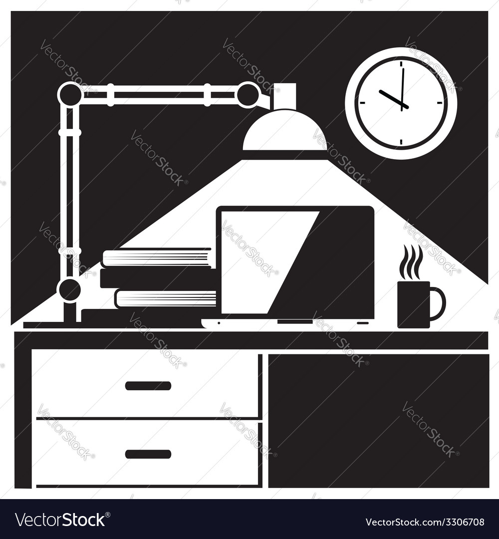 Workplace black and white vector