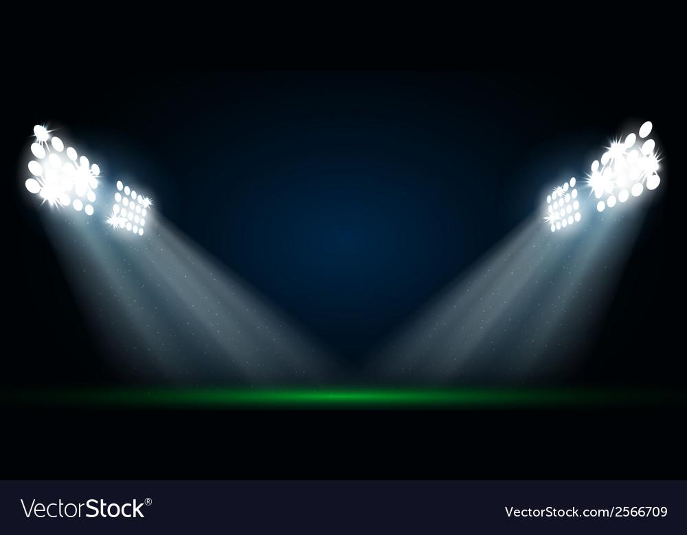 Four spotlights on a football field vector