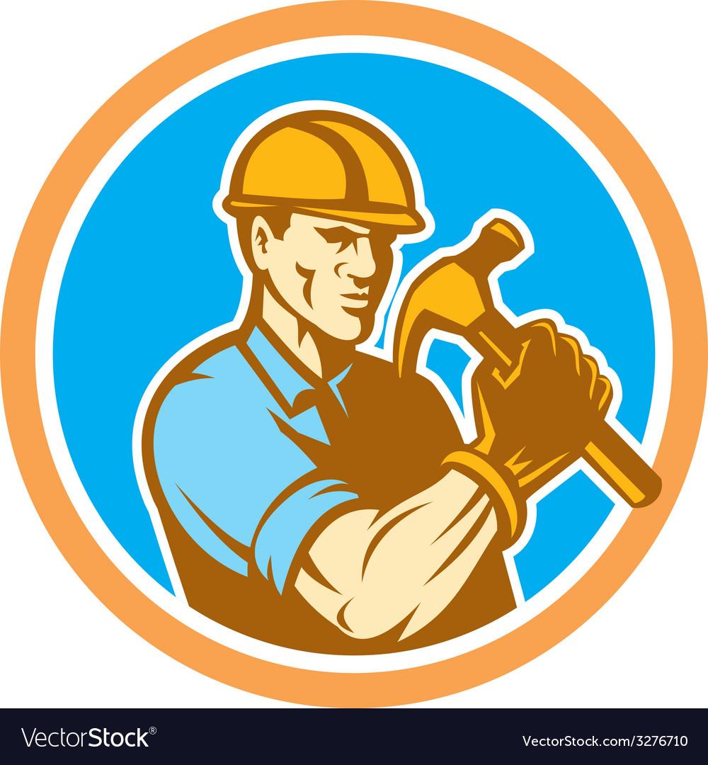 Builder carpenter holding hammer circle retro vector