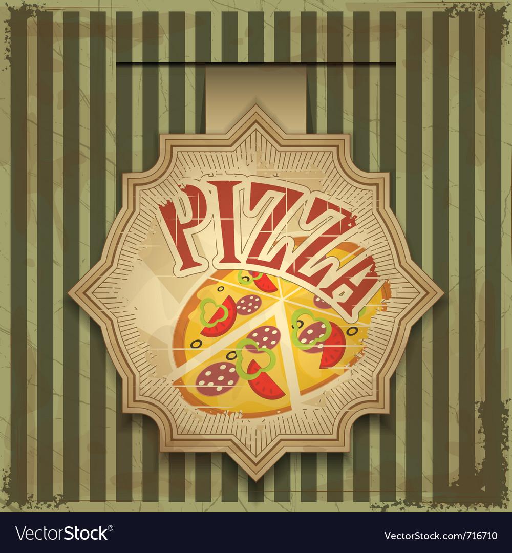 Vintage card menu - pizza label vector
