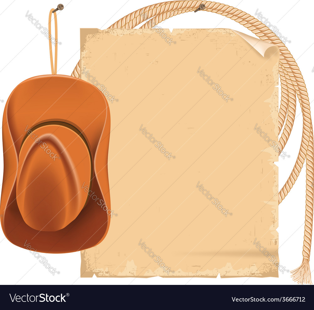 Cowboy hat and american lasso isolated on white vector