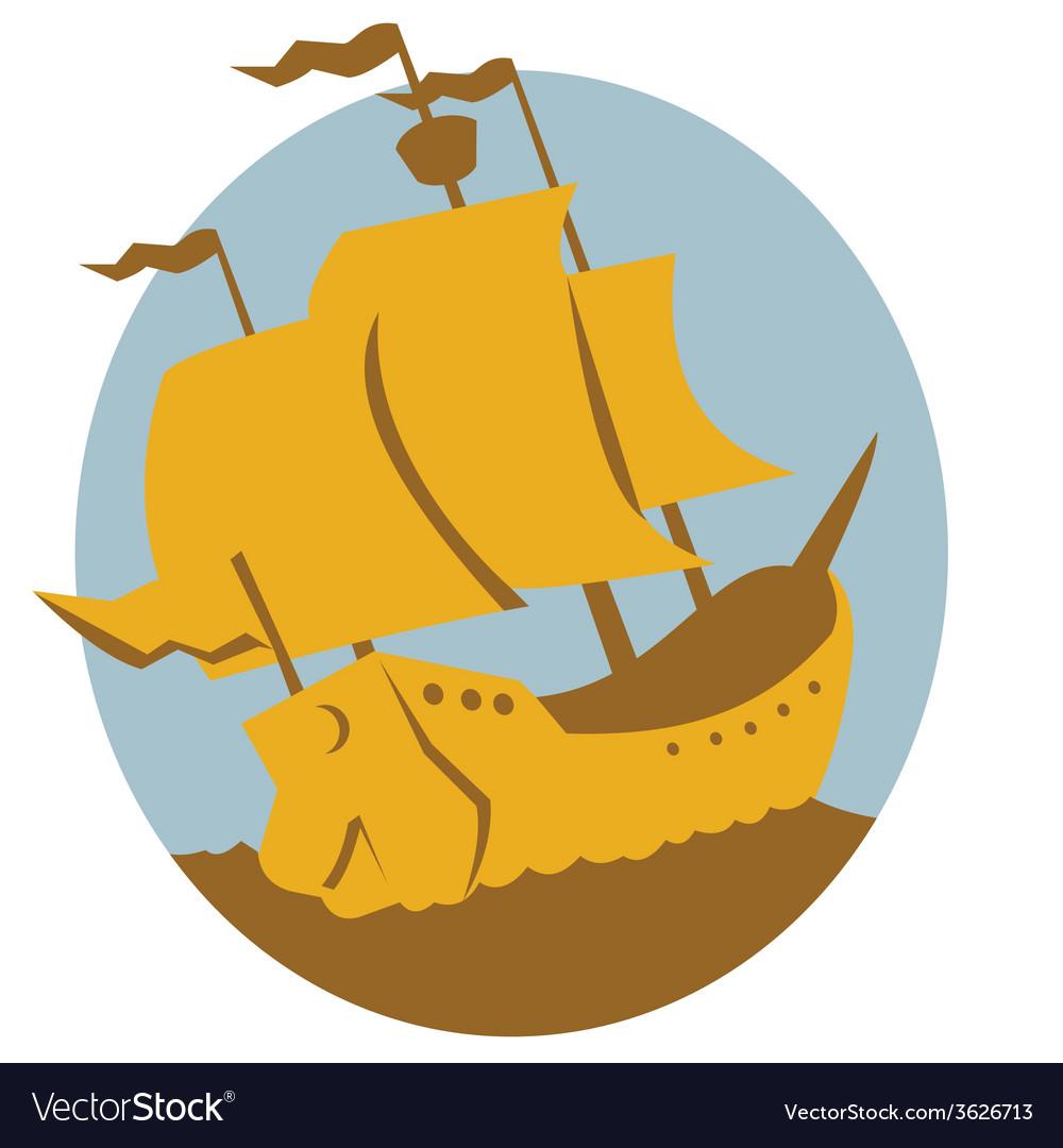 Sailing ship galleon retro vector