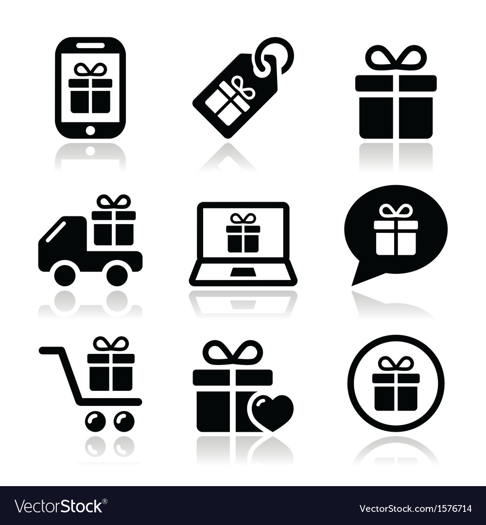Present shopping icons set vector
