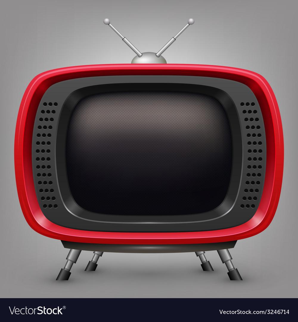 Retro red tv vector