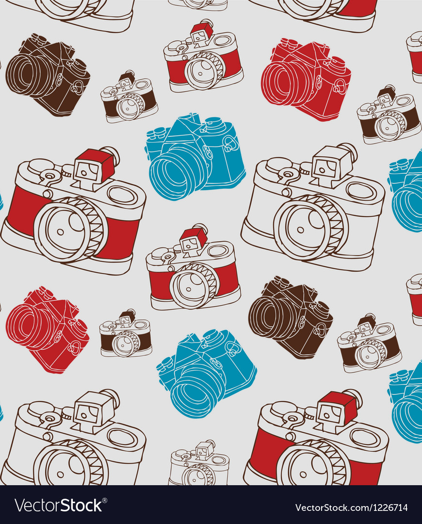 Vintage seamless pattern with camera vector