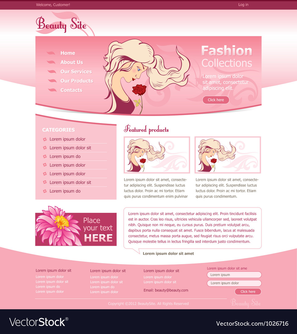 Beauty site template vector