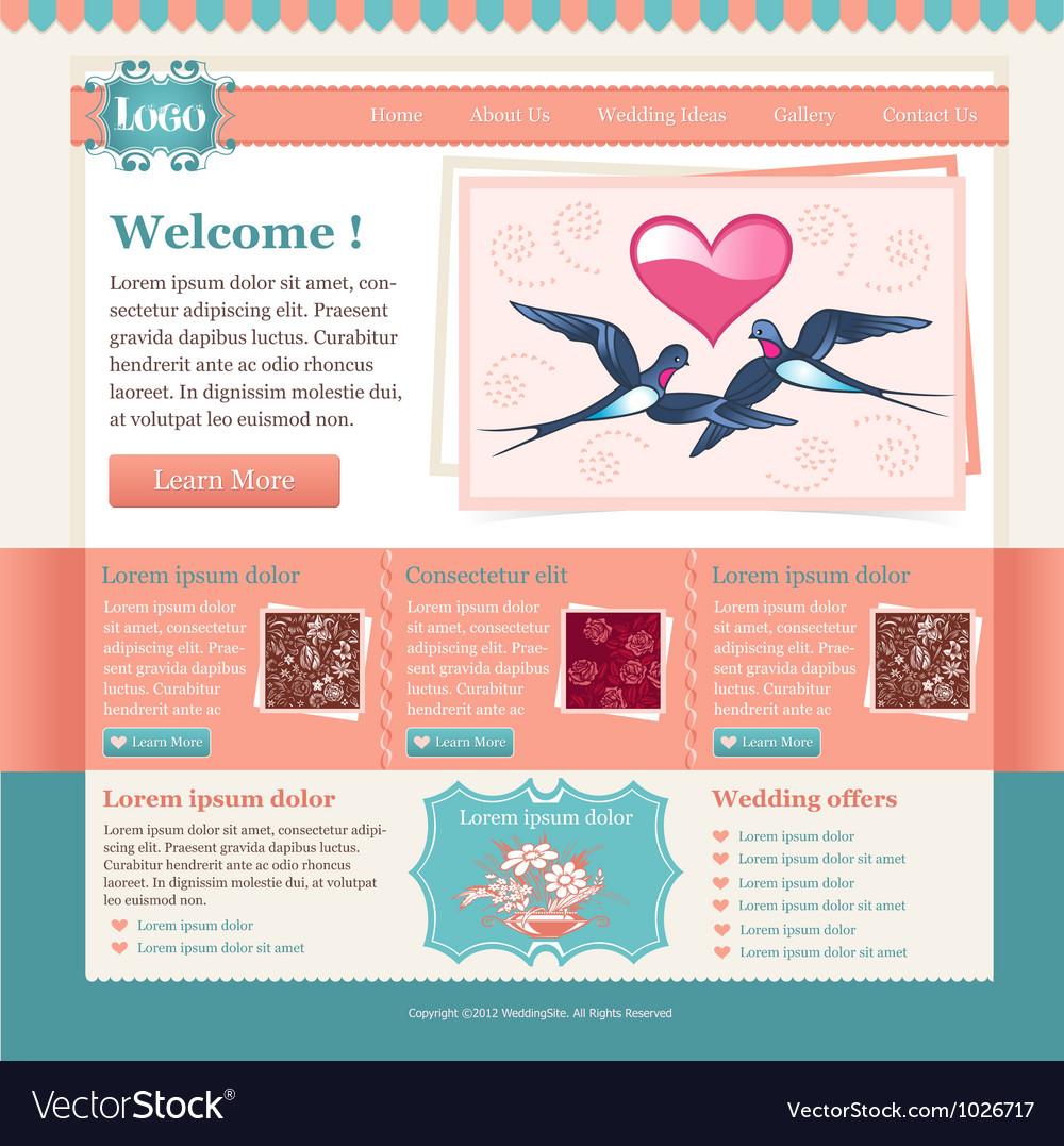 Wedding site template vector