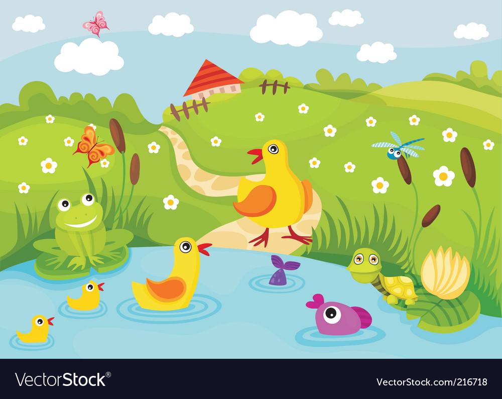 Farm pond vector