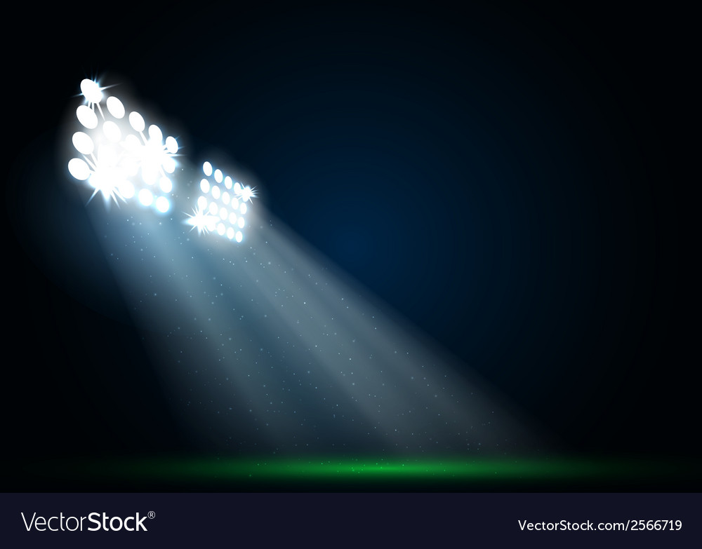 Two spotlights on a football field vector