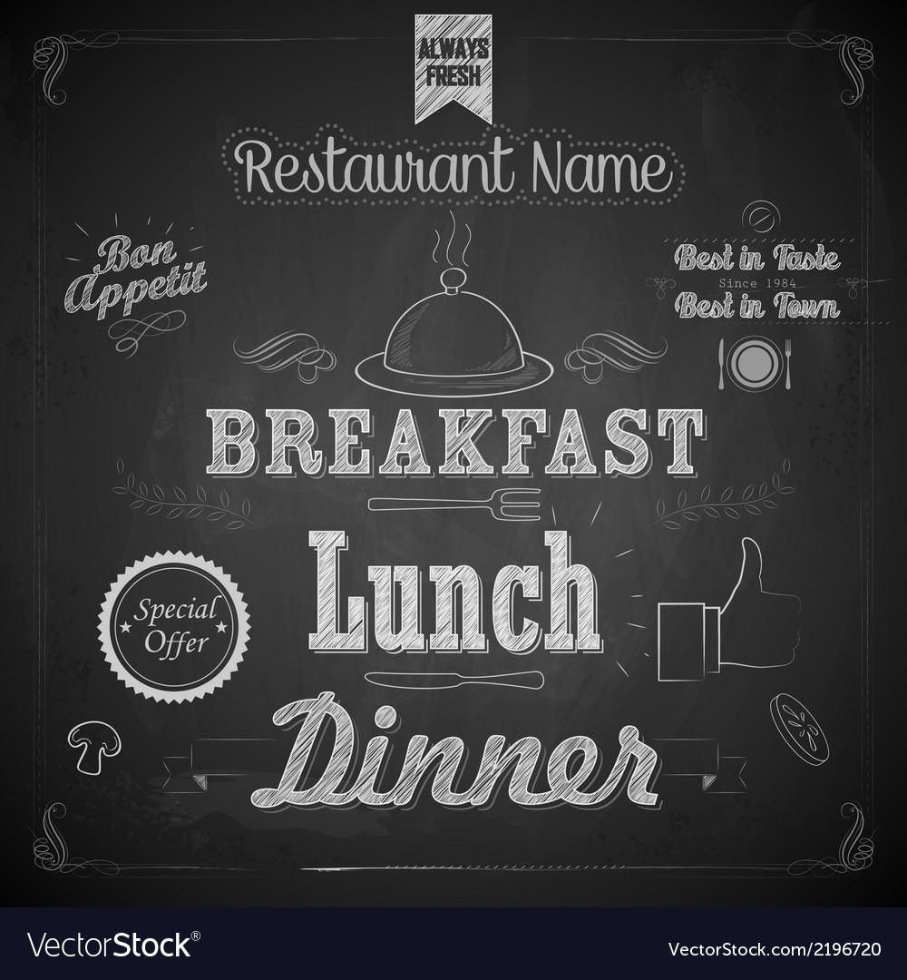 Chalkboard menu vector