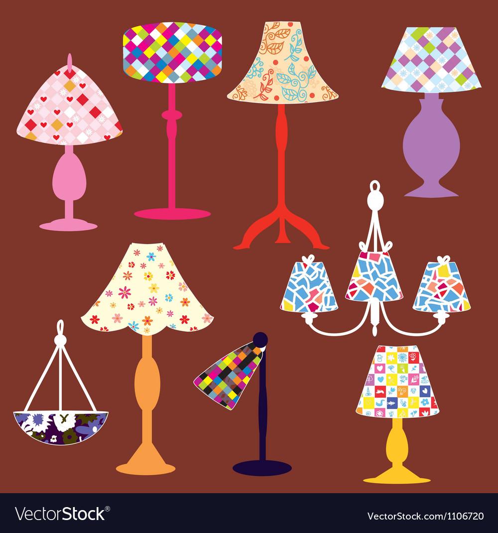 Lighting lamps set vector