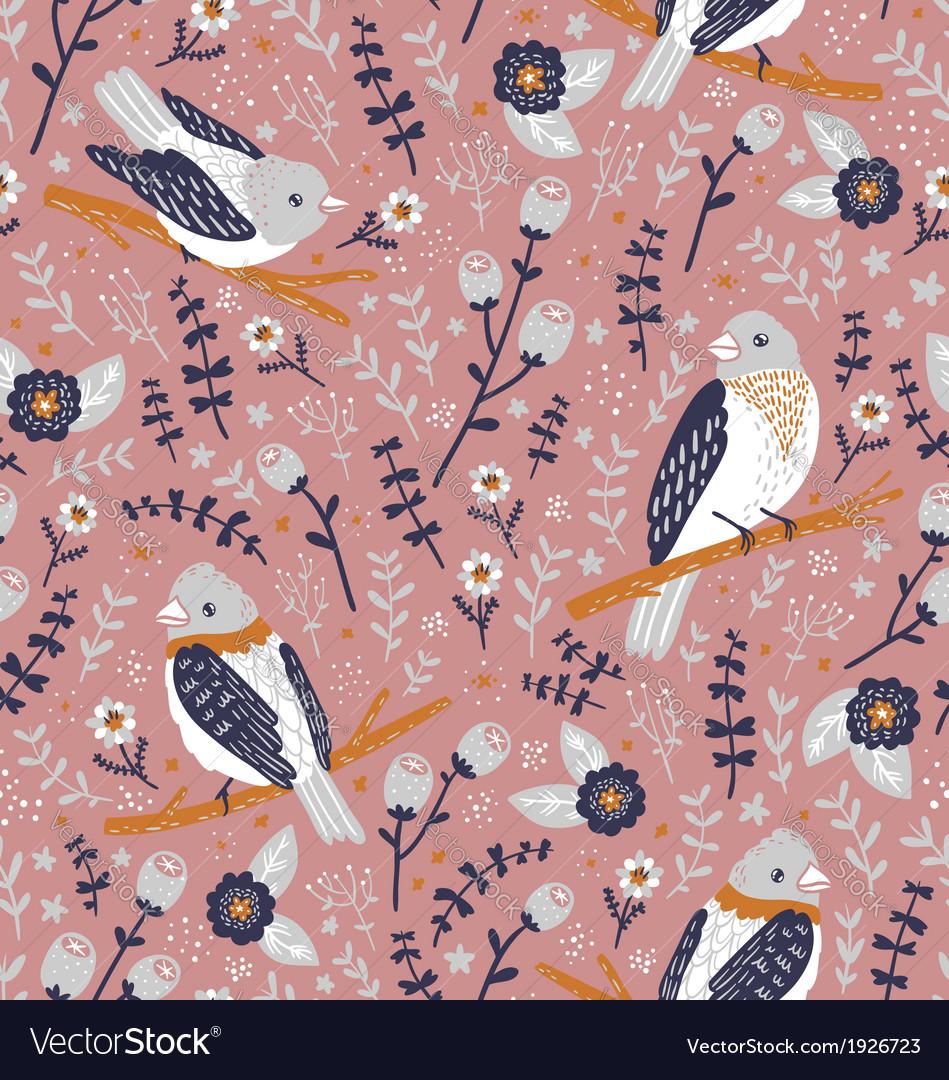 Beautiful birds and flower berries pattern vector