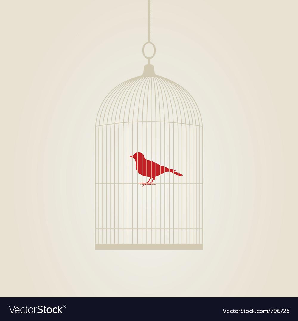 Bird in a cage vector