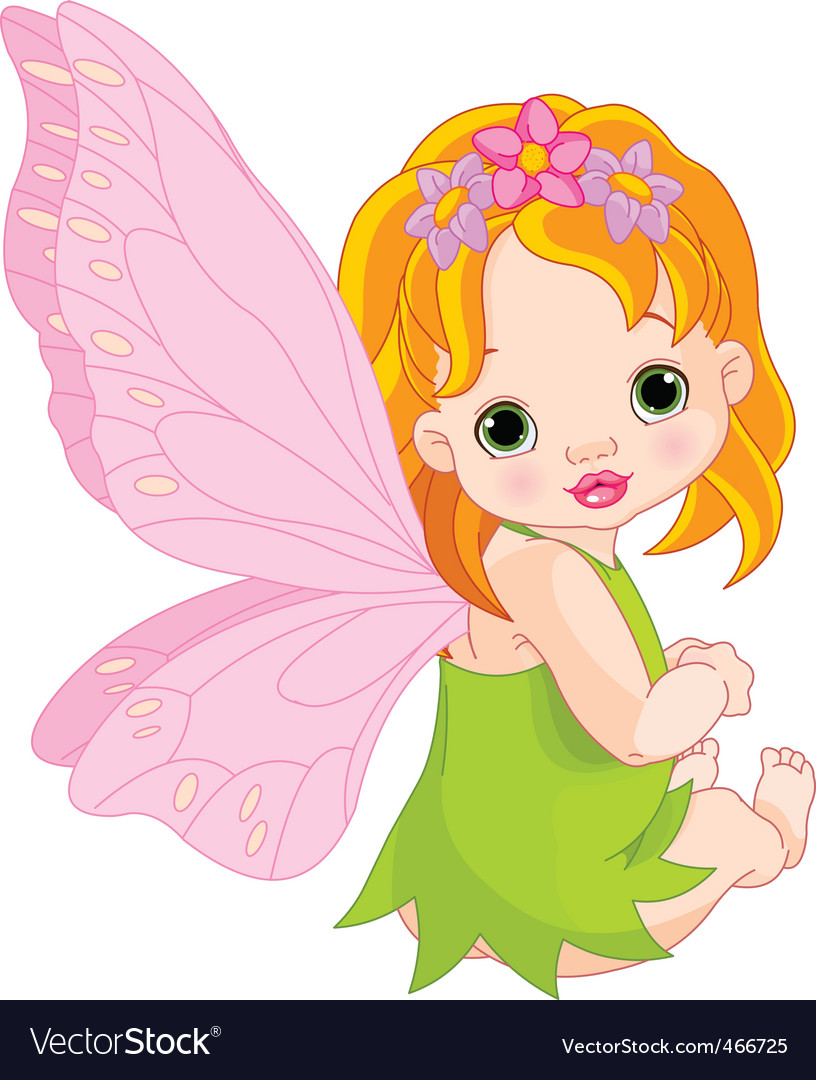 Cute baby fairy vector