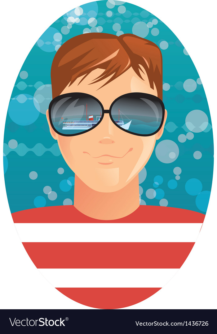 Man and reflection in sunglasses vector