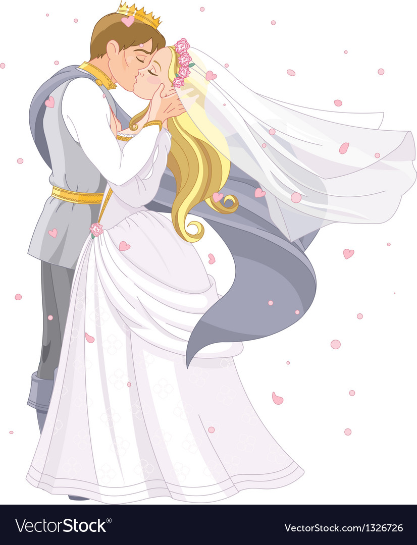 Wedding royal couple vector