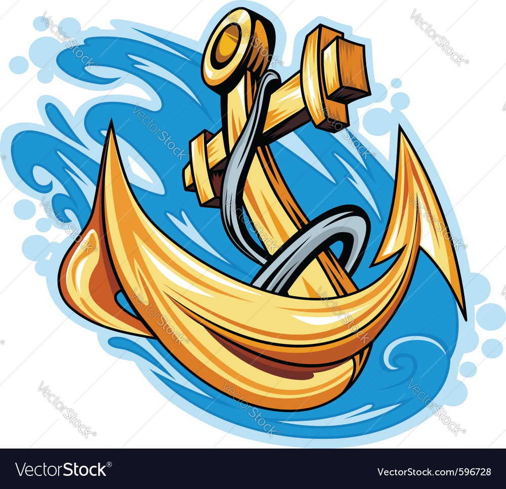 Anchor in sea water vector