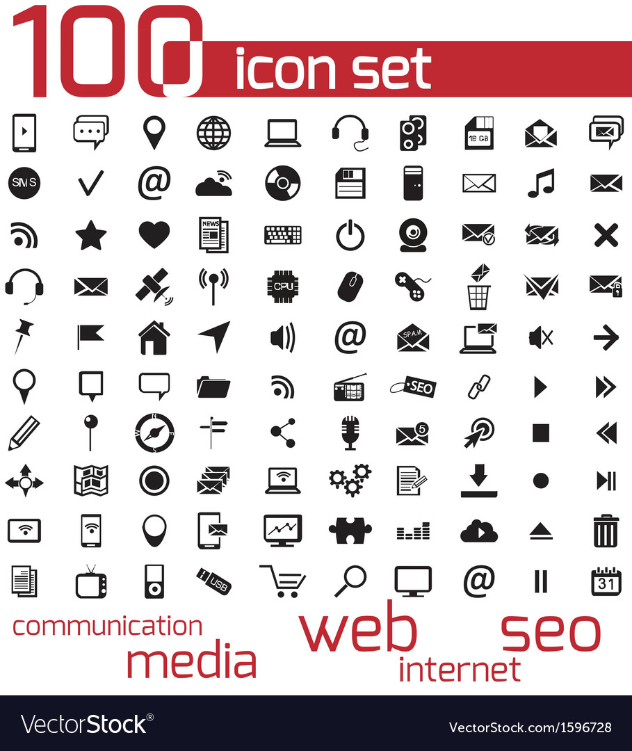 Black 100 web and media icons set vector