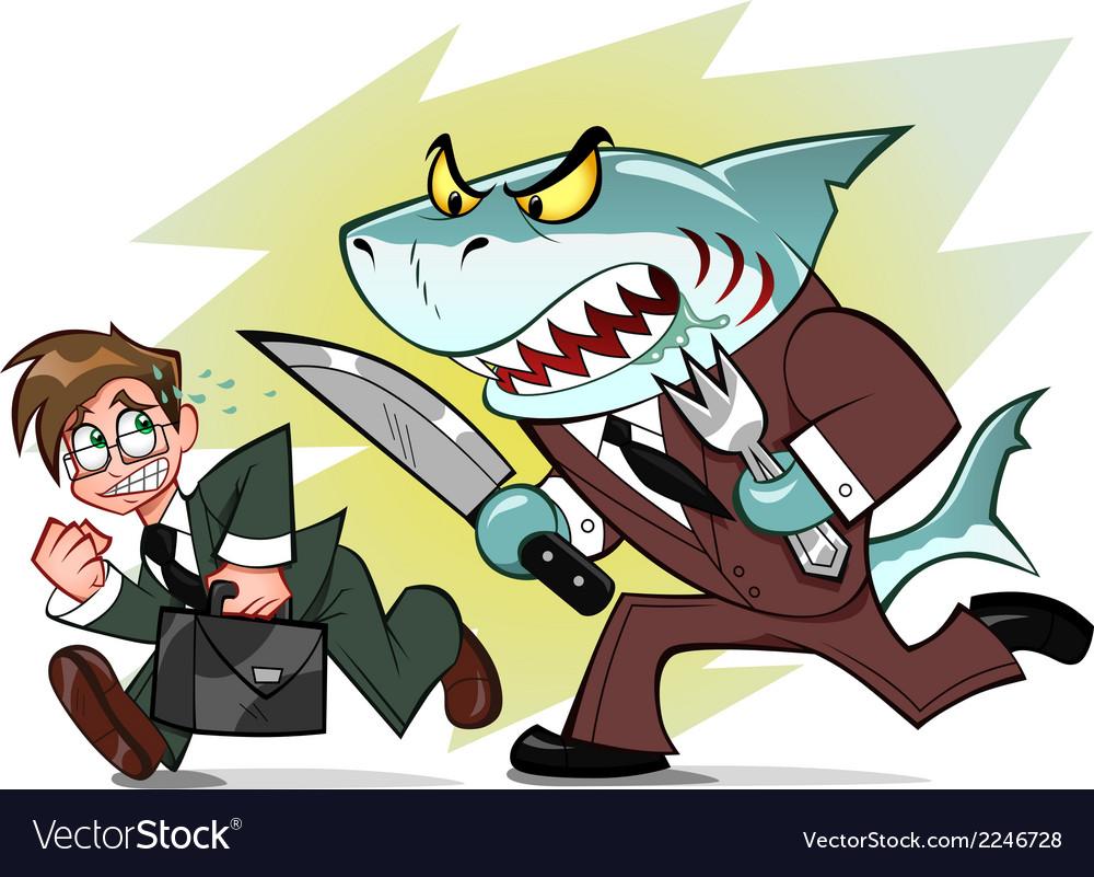 Businessman and business shark vector