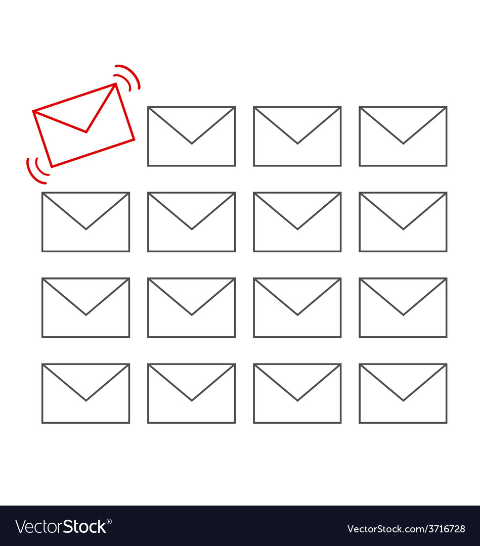Flat icons of messages with one important message vector