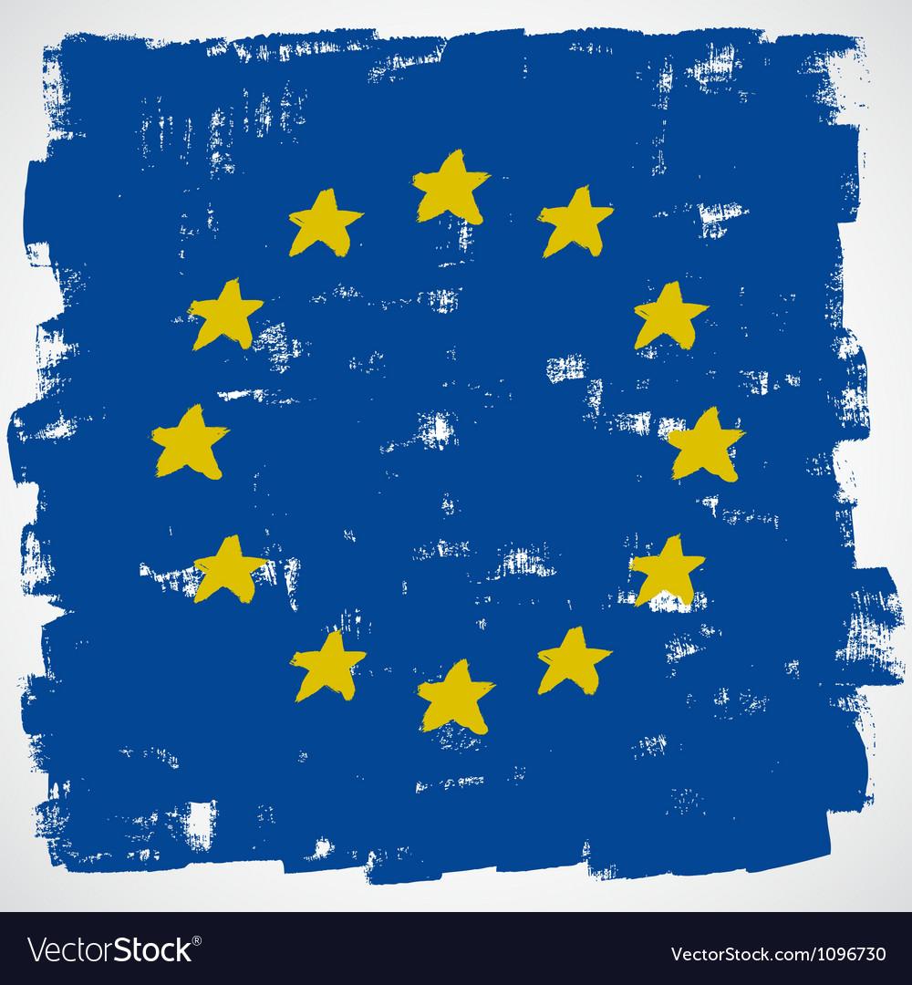 European grunge flag vector