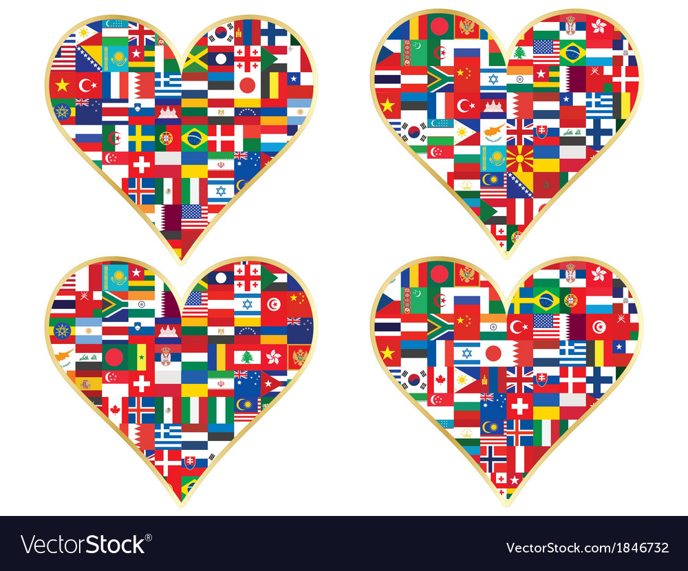 Flags valentine vector