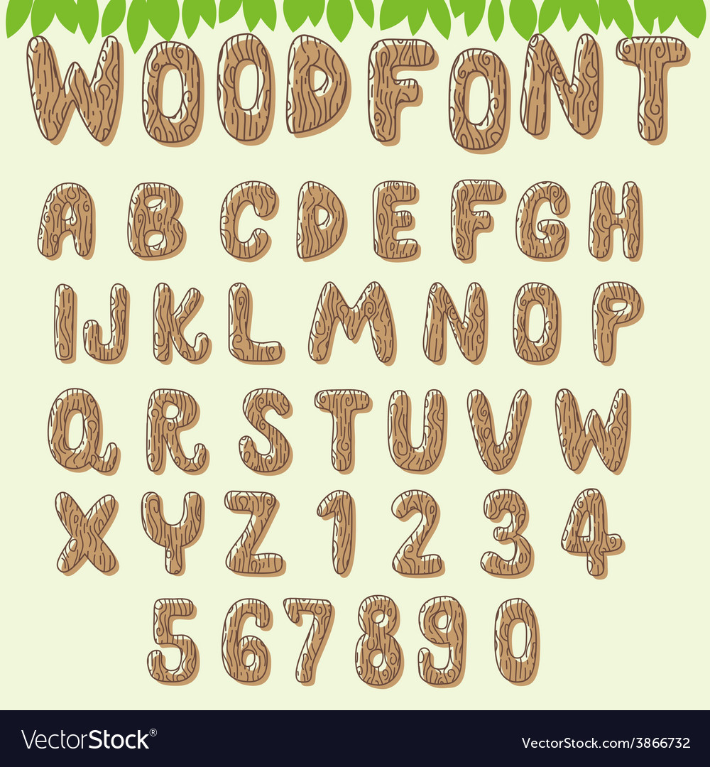 Wood font light brown vector