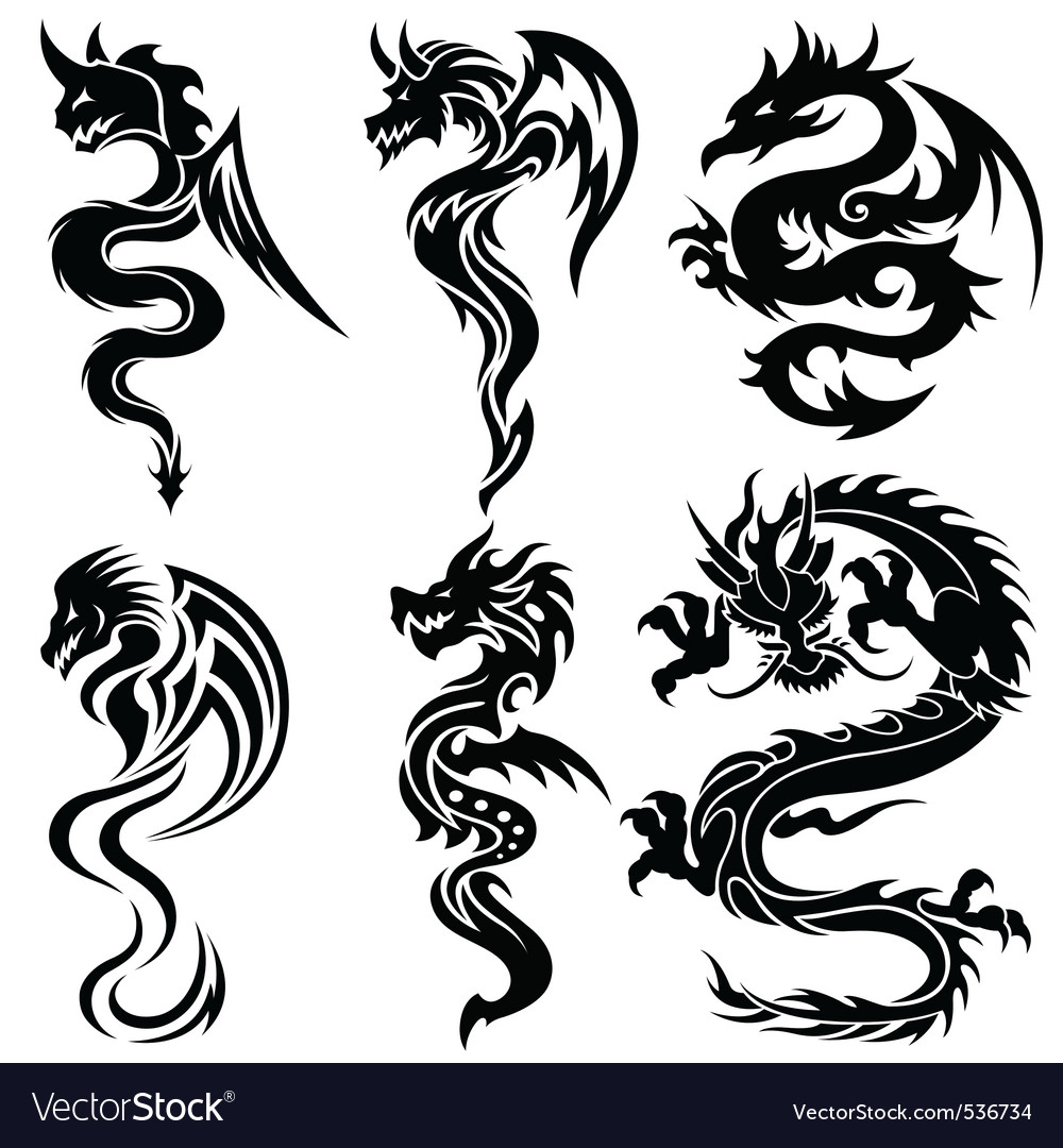 Set of the chinese dragons tribal tattoo vector