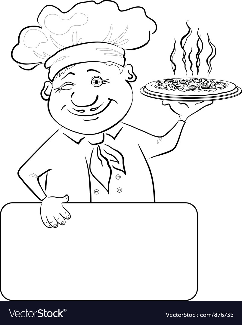 Cook with pizza and poster contour vector