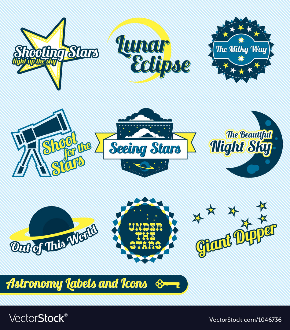 Astronomy and stars labels and icons vector
