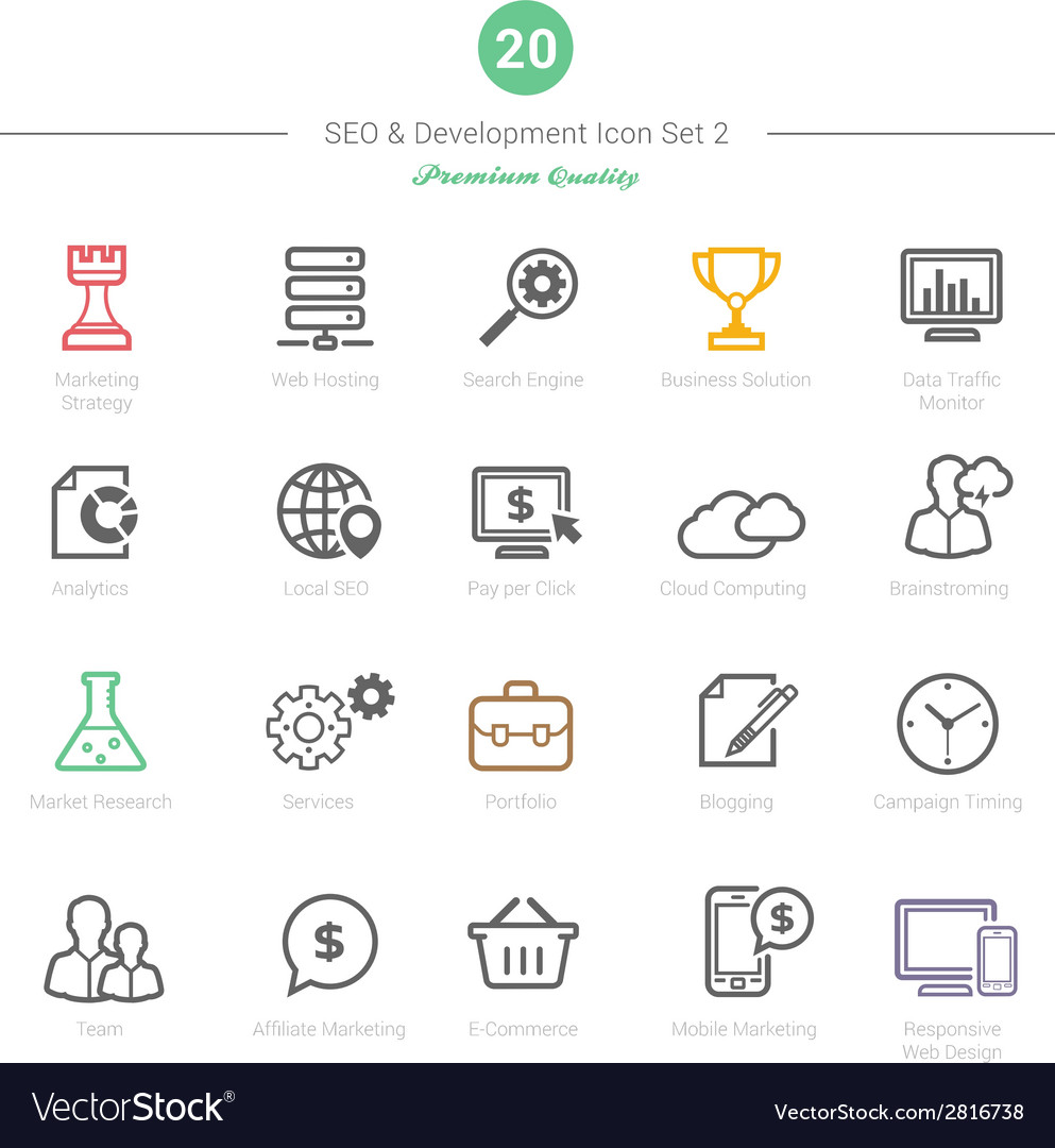 Set of bold stroke seo and development icons set 2 vector