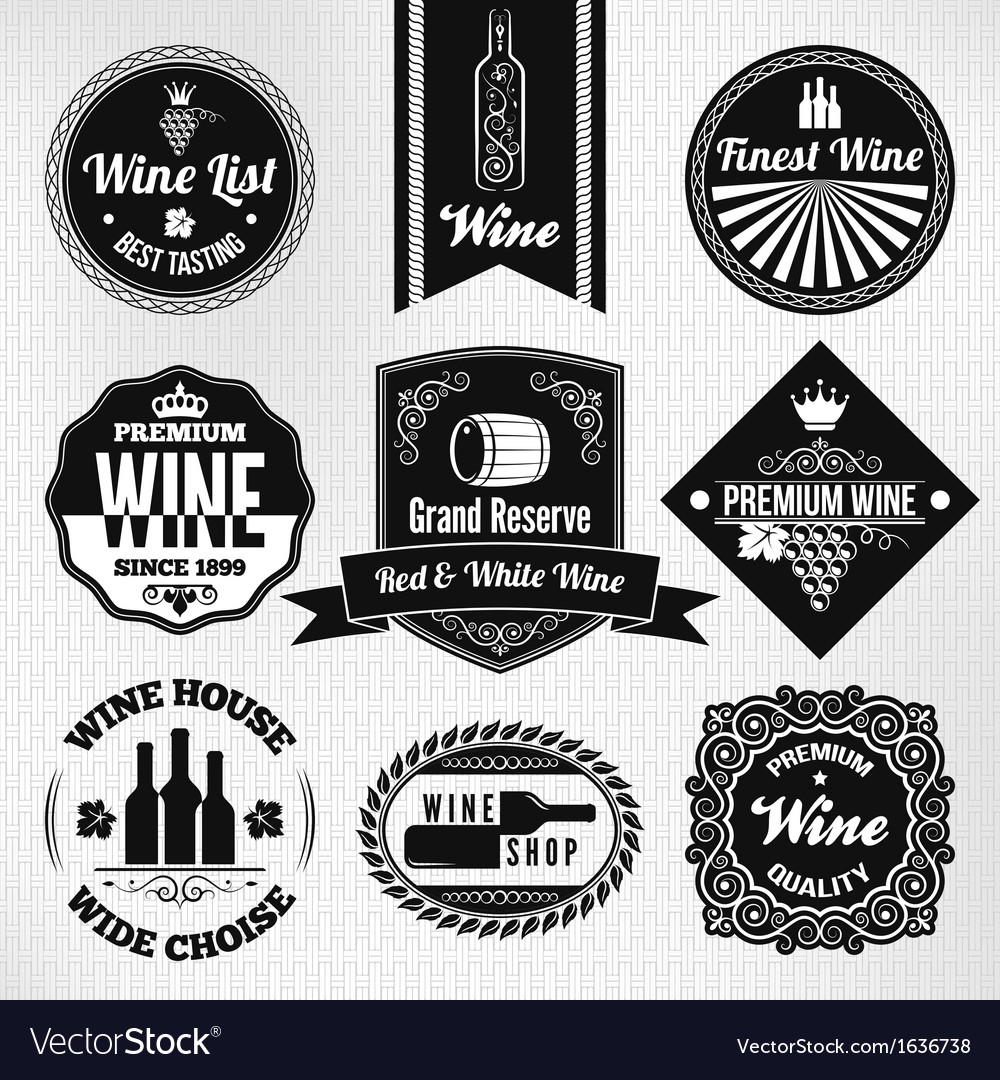 Wine set labels vector