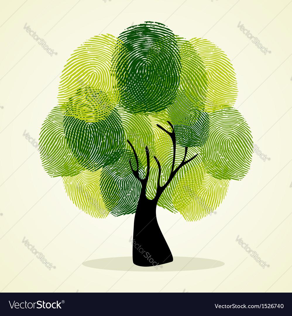 Finger prints tree concept vector