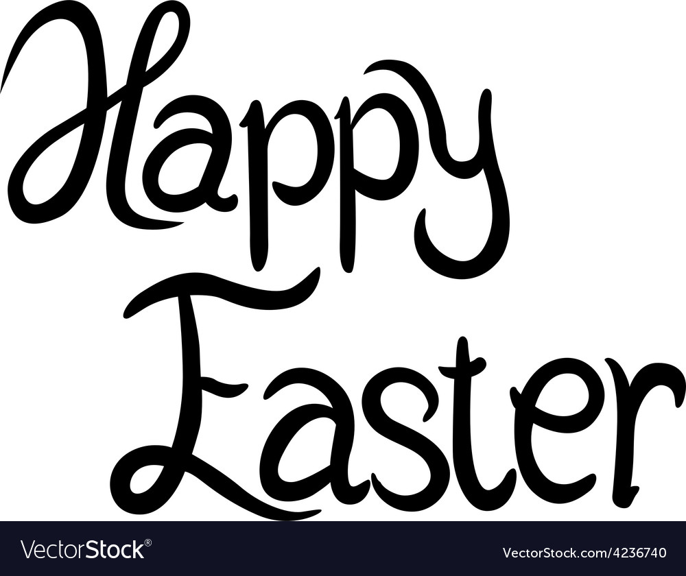Happy easter - calligraphy text vector