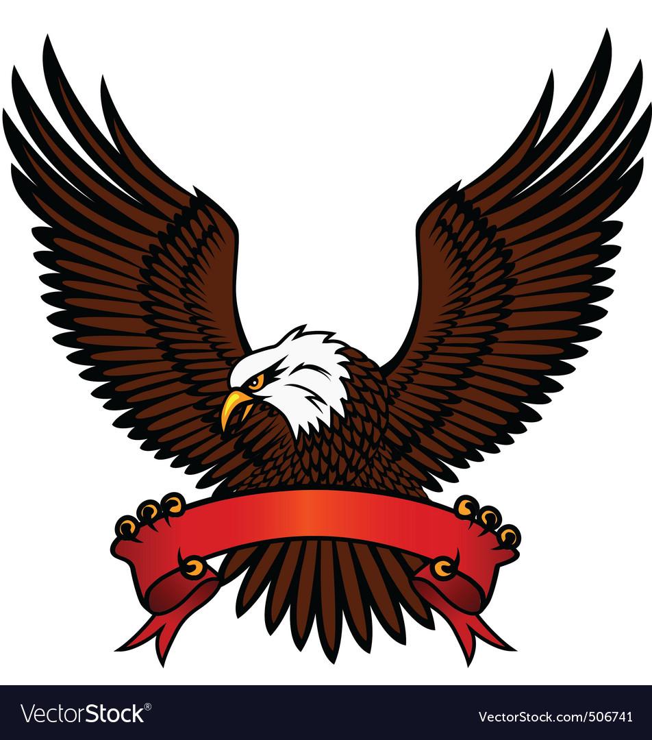 Bald eagle and red emblem vector