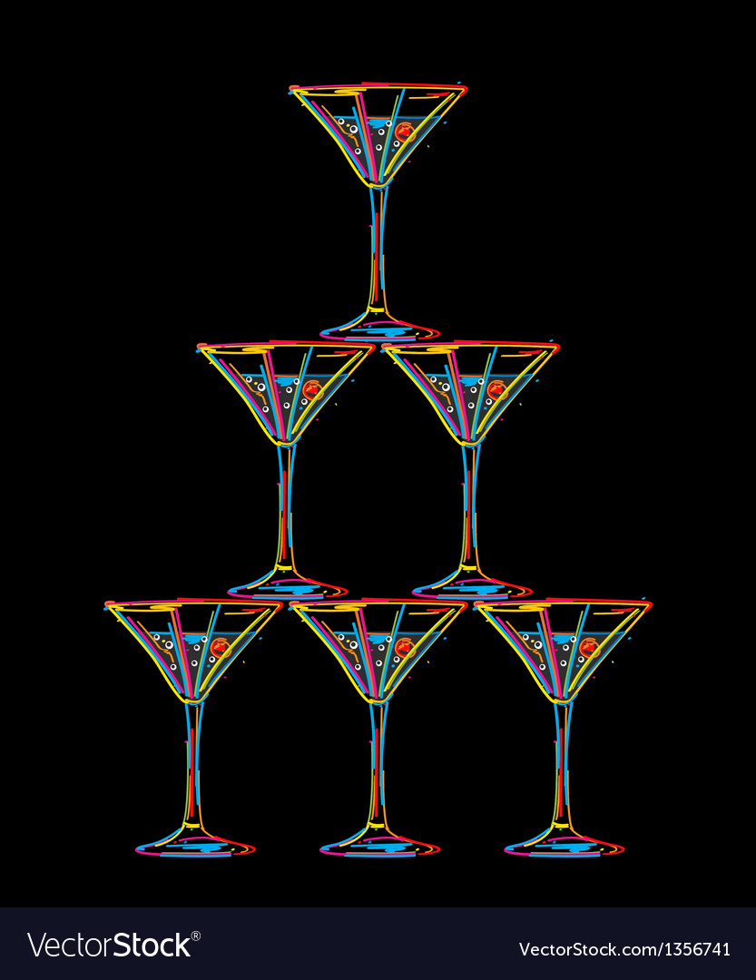 Champagne glasses tower vector