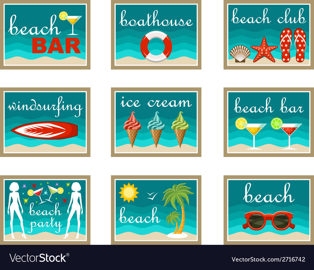 Beach set icons vector