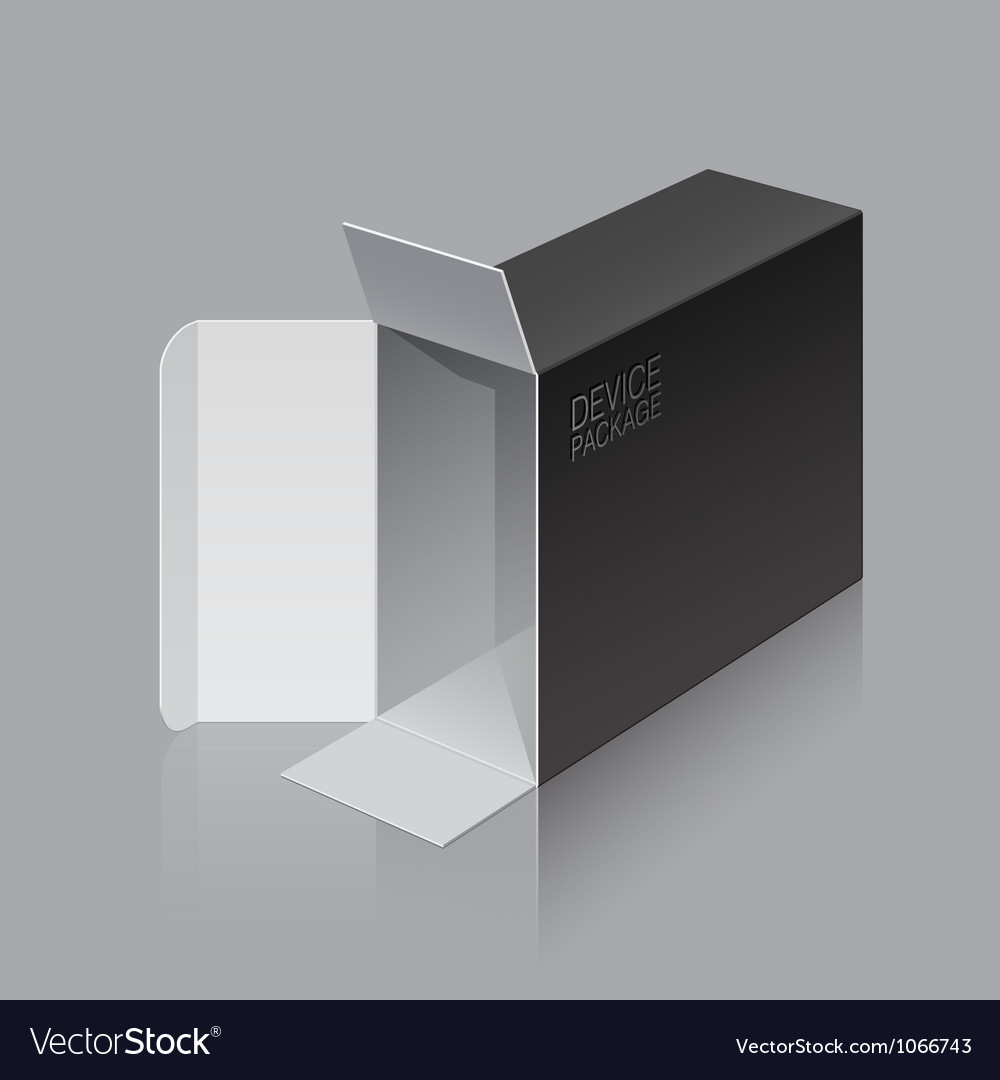 Black package box opened lying on its side vector